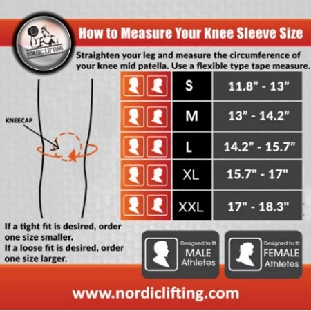 Nordic Lifting Knee Compression Sleeves Measurements