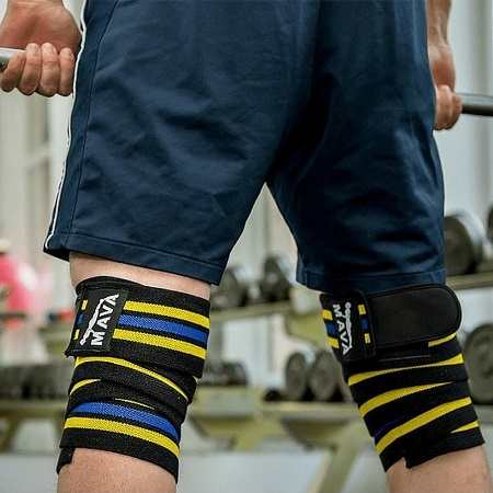Man With Mava Knee Wraps Weightlinfting