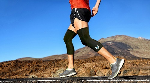 Knee compression sleeves used in running.