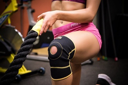 Knee compression sleeves used in workout.