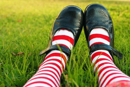 Striped socks in shoes.